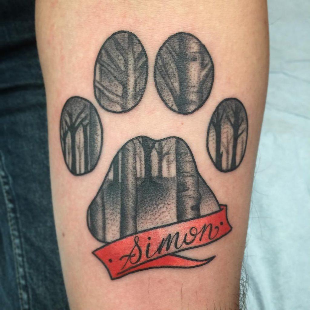 dog paw print tattoo idea